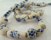 China Blue & Ivory Beaded Necklace and Earrings