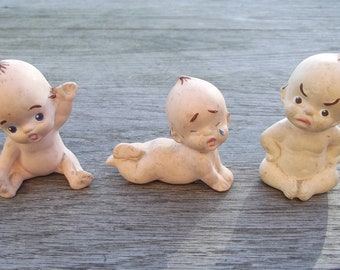 Cute set of 3 kitsch vintage chalkware Kewpie style baby figurines/ornaments - grumpy baby, cry baby and happy baby
