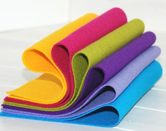 """100% Wool Felt Sheets - """"Happy Colors Collection""""  - 6 Wool Felt Sheets of 8"""" x 12"""" - Wool Felt Bundle"""