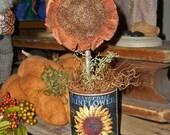 Prim Sunflower in Rusty Can