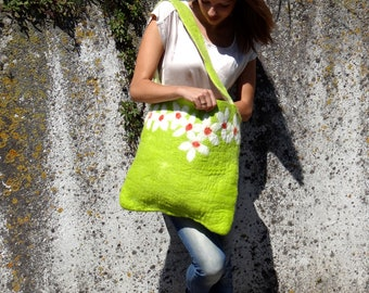 Messenger bag, shoulderbag, tote, handfelted, apple green with flowers in white and orange. Mothersday gift.