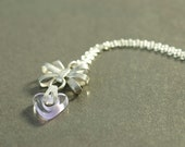 Silver Bow and Glass Heart Necklace