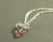 LOVE heart and silver bow necklace. Valentines necklace.