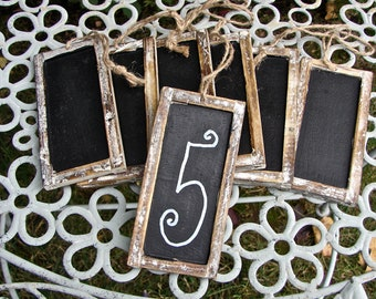 Rustic Bark Frame Chalkboard Tags - Make Great Wedding Table Numbers - Six Pieces