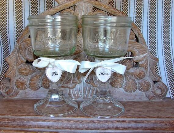 handmade rustic mason jar wine glasses bride and groom. Black Bedroom Furniture Sets. Home Design Ideas