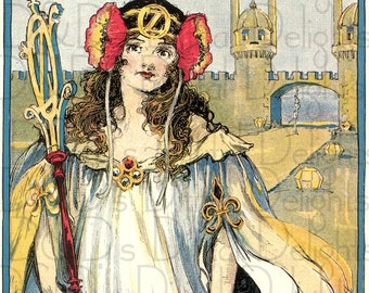 Art Nouveau Beautiful OZMA of Oz. Storybook/Fairy Tale VINTAGE  Illustration. OZ  Digital Download