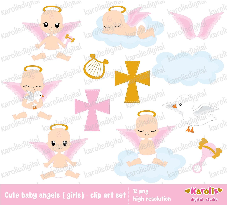 Baby angel for girls baptism/ religious clip art set