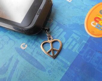 Ear Cap Heart Peace - Anti-Dust Plug Ear Cap 3.5mm for iPhone4/4s iphone5 iPod.