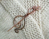 Twisted & Fired Copper Wire Shawl Pin - Dances with Wool