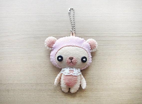 Felt Keychain -  Valentine Gift -  cute accessories -  Kawaii - Bear plush - READY TO SHIP