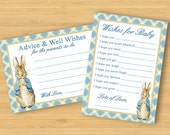 Peter Rabbit Baby Shower games - Wishes for Baby and Advice Cards - printable Beatrix Potter
