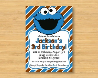 Cookie Monster Printable Birthday Party Invitation - 5 x 7 - Sesame Street, Muppets