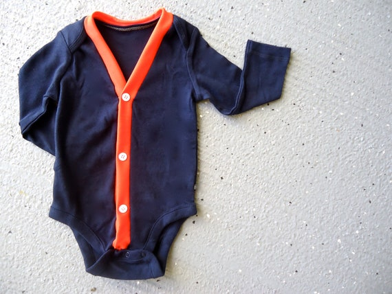 Baby Cardigan Onesie - Navy and Orange - Perfect for a Fall or Winter Baby Shower Gift