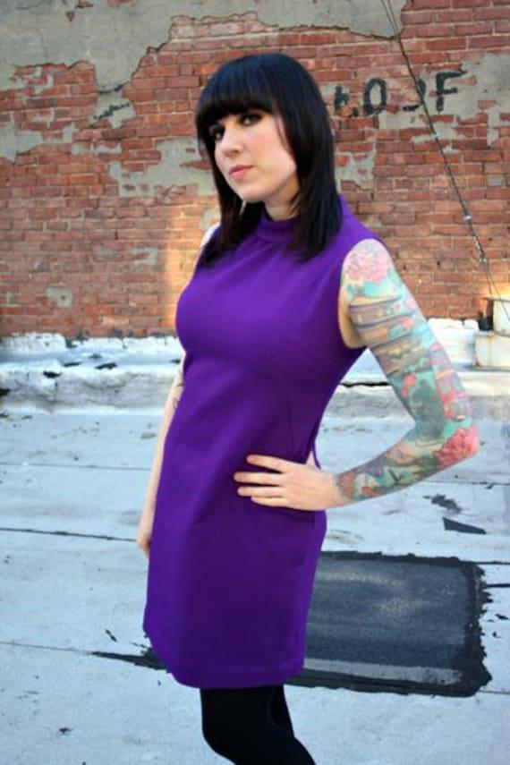 1960s or 1970s Sleeveless Royal Purple Mod Dress with Mock Turtleneck