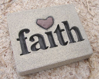 """Love Rocks """"faith"""" Plaque with Natural Found Heart Shaped Rock - Believe Word & Stone Wall Art Sign - Custom Made to Order Affirmation"""