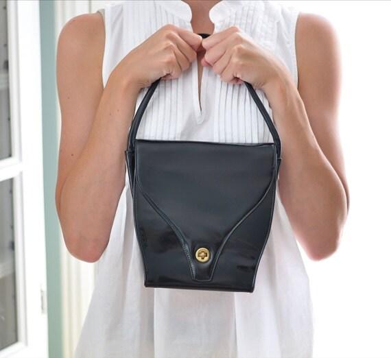 Black Patent 1960's Vintage Purse Handbag
