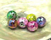 5 Rainbow Multi color Paintball Beads 12mm Round Large Loose Beads Yellow, Green, Hot Pink, Orange,Pink, and Purple