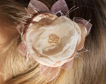vintage flower hair clip ivory cream pink organza wedding flower girl hairpiece photo prop flower girl hair clip beaded headband shabby chic
