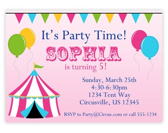 Circus Carnival Invitation - Pink Big Top Tent, Balloons and Bunting Personalized Birthday Party Invite - a Digital Printable File