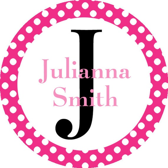 Personalized Name Label Stickers Pink Polka Dot Monogram