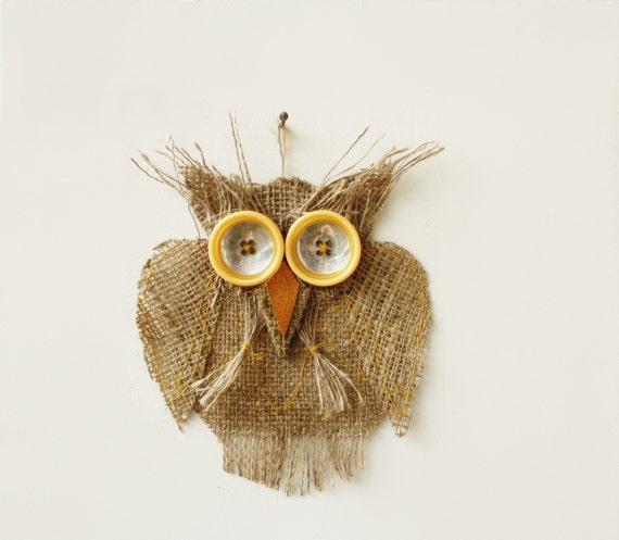 Owl Wall Decor Burlap Mirror Yellow Eyes OOAK yellow details