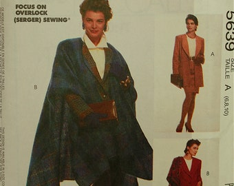 """1990s Jacket & Cape Sew News Fashion Collection McCall's Pattern 5639 Uncut  Size 6-8-10  Bust 30.5 to 32.5"""""""