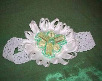 FREE SHIPPING  White beaded flower headband