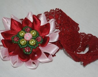 FREE SHIPPING Christmas flower baby girls headband