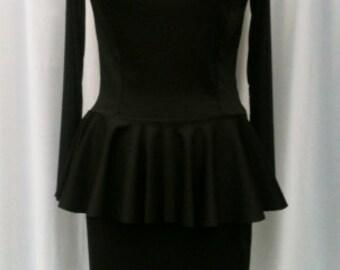 Baylis & Knight Black Sheer Sweetheart PEPLUM Long Sleeve Low Cut Wiggle Hobble Knee Dress Dita Burlesque Pin Up