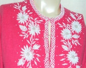 Vintage 1950's Hot Pink Hand Beaded  Wool Cardigan Sweater Rockabilly Pinup M-L RARE
