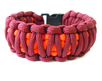 Paracord Bracelet, Survival Bracelet, Men's Bracelet, Men's Jewelry, Maroon Paracord