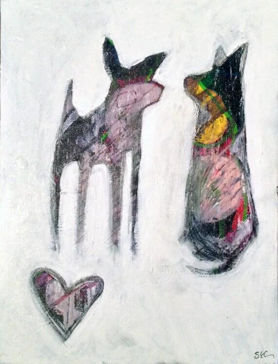 "Sheila Cameron Original Painting on Canvas ""Chihuahua Love"""