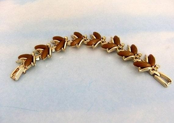 Vintage Kramer Thermoset  Leaves Goldtone Bracelet