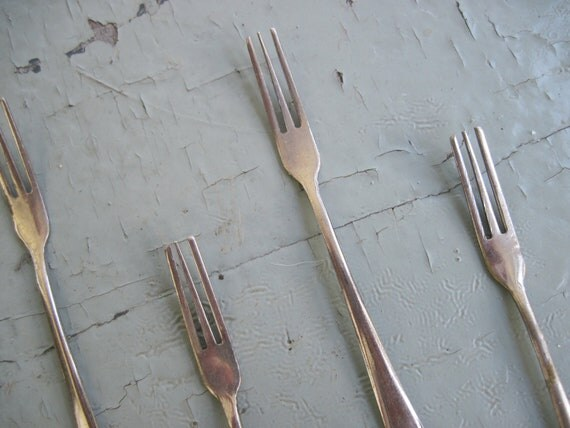 "Teeny Tiny Vintage Silver Cocktail Forks - 4"" long - Set of 6"
