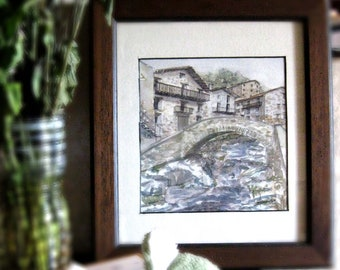 A northern spanish Villlage with stone bridge over river,Watercolour Original painting