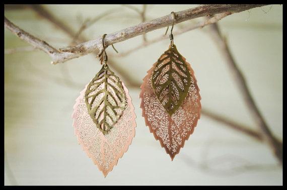 North Carolina Leafs: Leaf Earrings, Mixed Metal Earrings