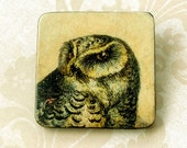 Snowy Owl  Brooch, Victorian Art Transfer,  animal totem, rustic, wood brooch