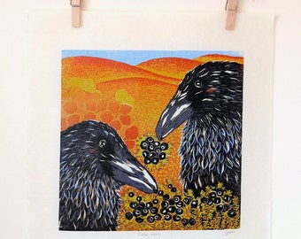 Crow-berry: Original Woodblock Print, Raven(crow) and crowberry