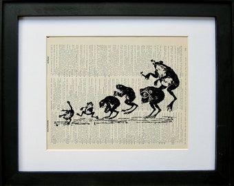 Leaping frogs printed on a page from an antique dictionary