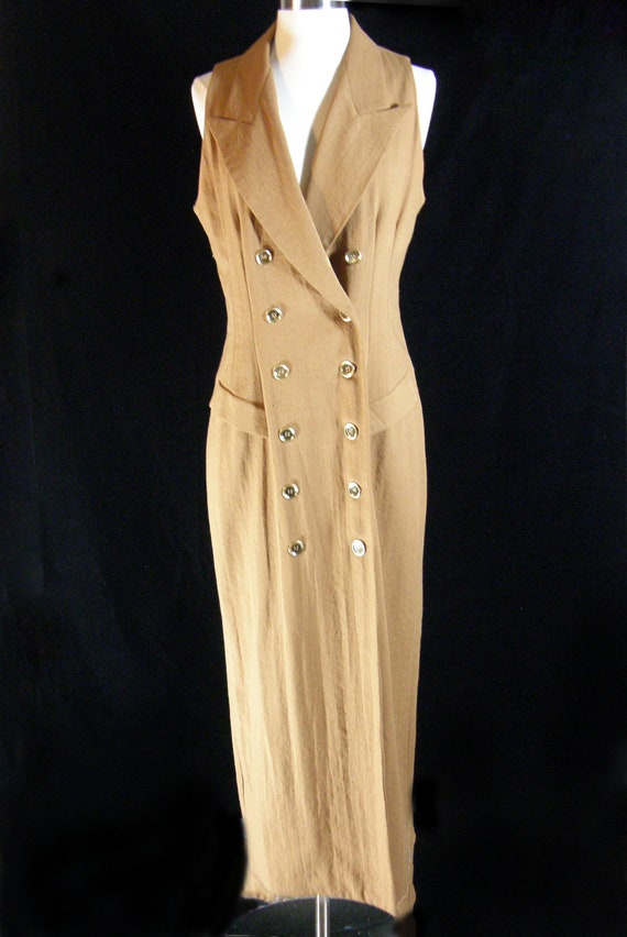 Show off your tan in this 1980's Beautiful Gold Sleeveless  Coat Dress