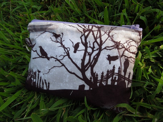 Grave yard scene Medium sized Zippered cosmetic / cash / credit card pouch / bag