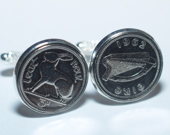1963 Irish coin cufflinks- Great gift idea. Genuine Irish 3d threepence coin cufflink 1963
