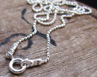 17 inch Sterling Silver Ball Chain Necklace with Spring Ring Clasp - 1.5mm Thickness Chain 43cm