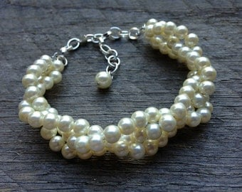 Yellow Ivory Pearl Bracelet Bridal Bracelet Braided Cluster on Silver or Gold Chain