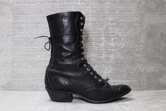 Vtg 80s Black Leather Western Tall Lace up Roper Boots 8 1/2 8.5 9