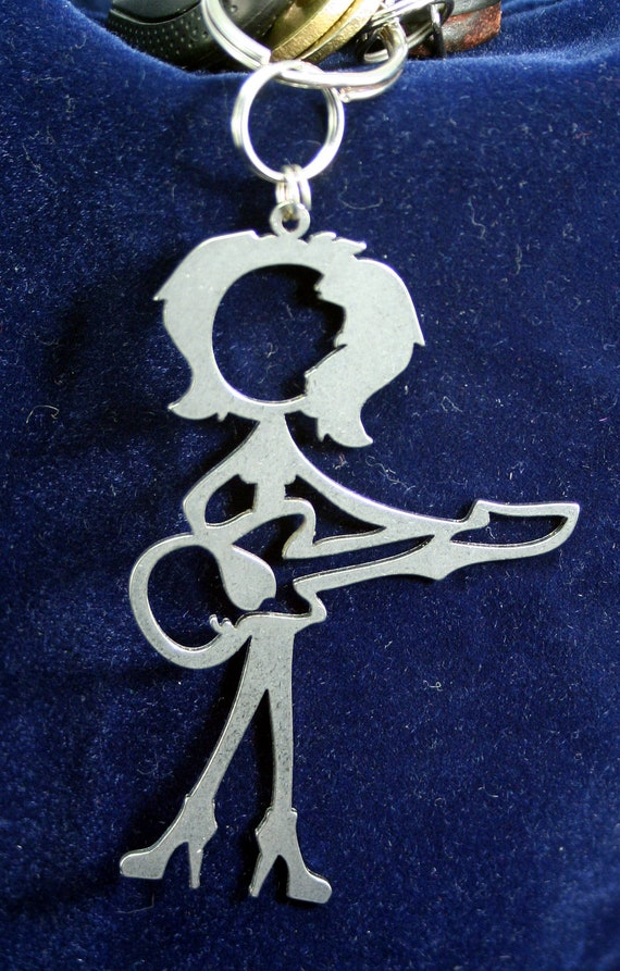 Female Guitar Player or bass palyer Stick Figure Keychain charm