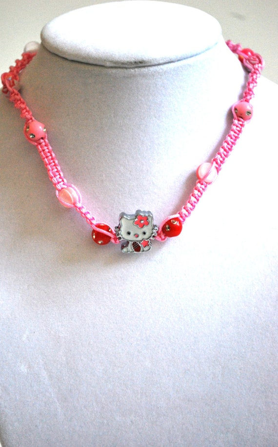 Cute Hello Kitty Handmade Beaded Pink Hemp Choker (See photo for other Hello Kitty pendants available)