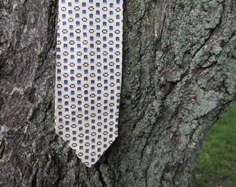 1950s Ivory Tie with Abstract Purple and Brown Pattern