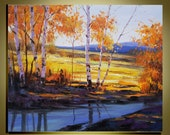 """Original Oil Painting Modern Palette Knife landscape  fine art on Canvas Birch forest Golden Colour Ready to Hang by Qujun 20"""" by 24"""""""
