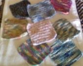 "Hand crochet cotton cloths for kitchen or bath, aprox 6-7"" sq,multi colors"